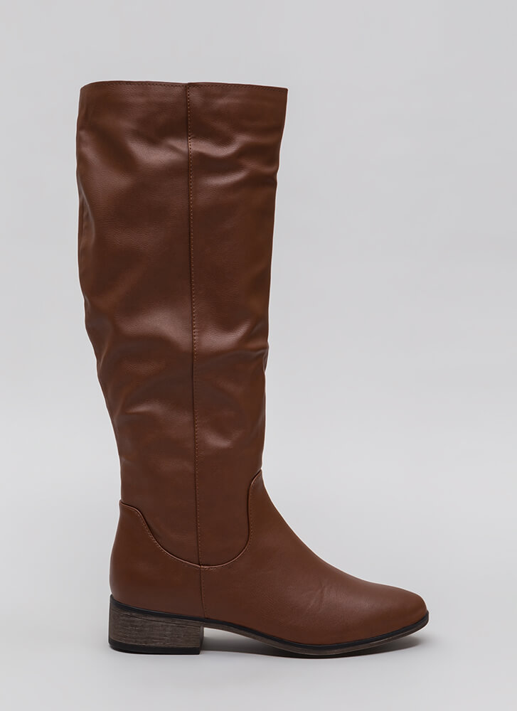 Into The Sunset Faux Leather Boots CHESTNUT