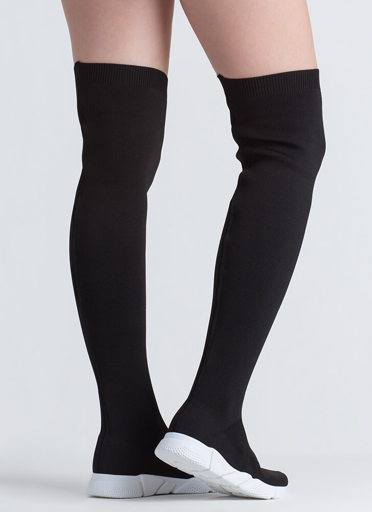 Sneaker Around Knit Thigh-High Boots BLACK