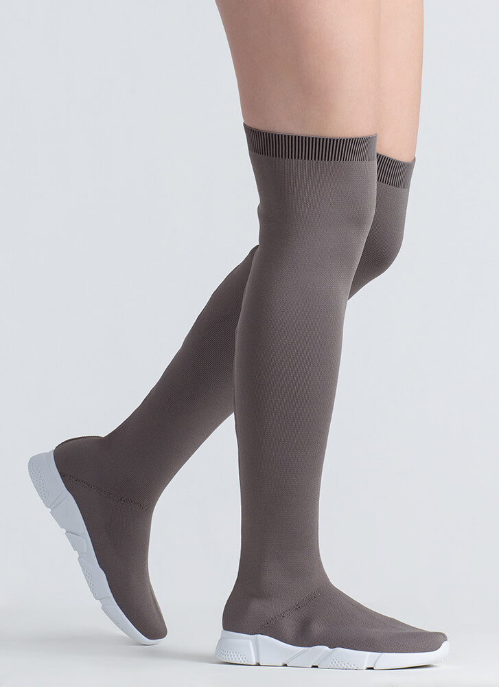 Sneaker Around Knit Thigh-High Boots GREY