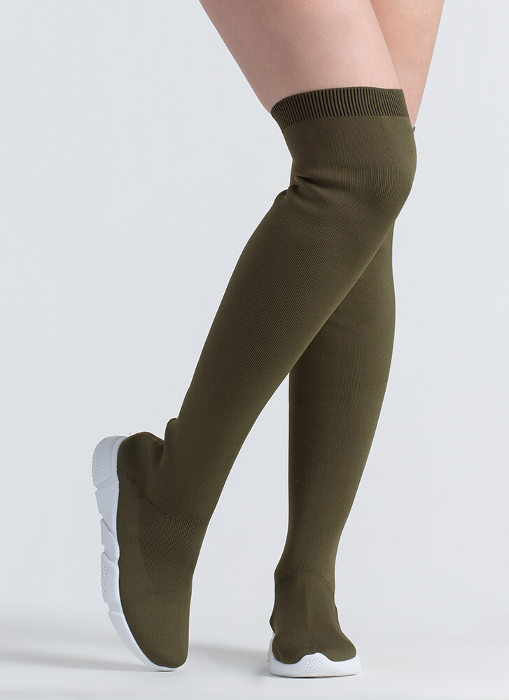 Sneaker Around Knit Thigh-High Boots OLIVE