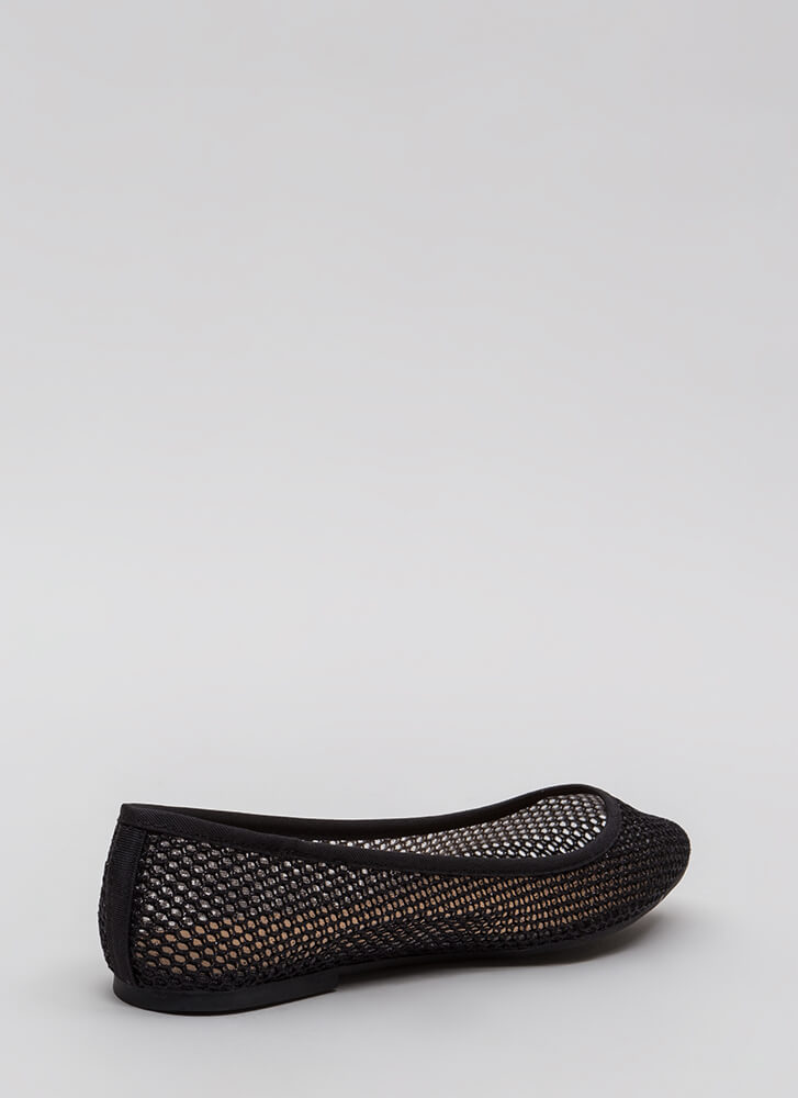 Caught In My Net Sparkly Mesh Flats BLACK