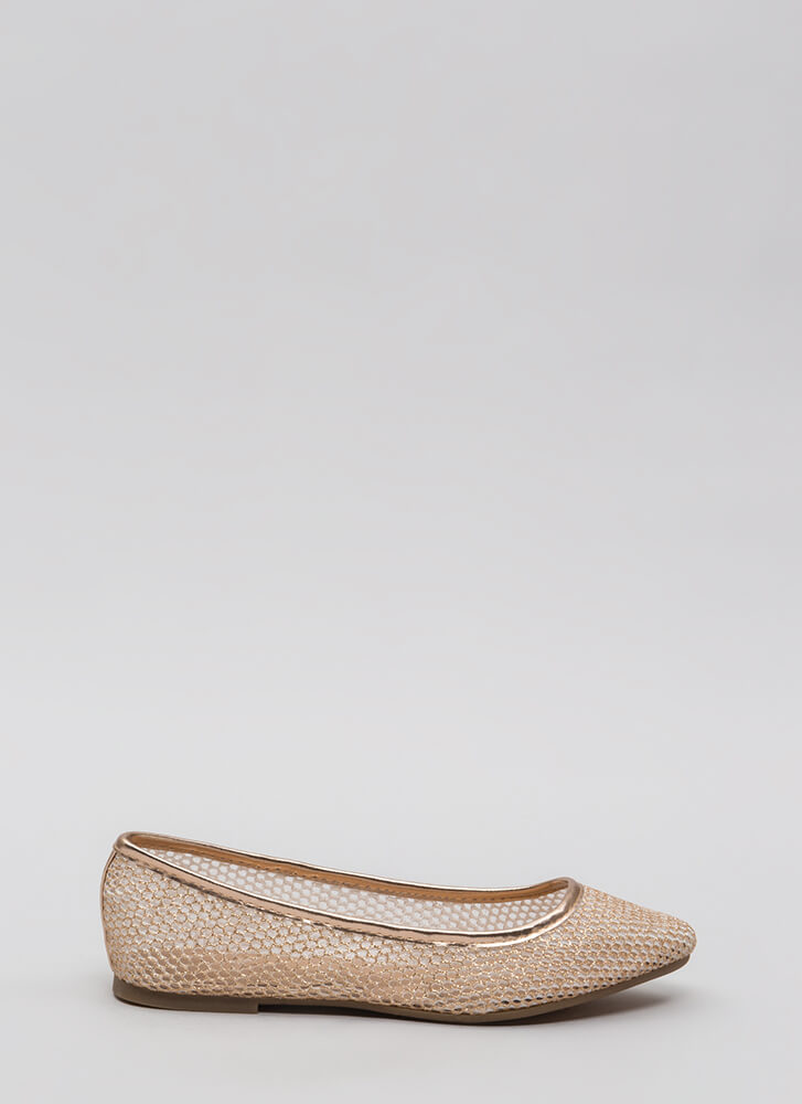 Caught In My Net Sparkly Mesh Flats ROSEGOLD