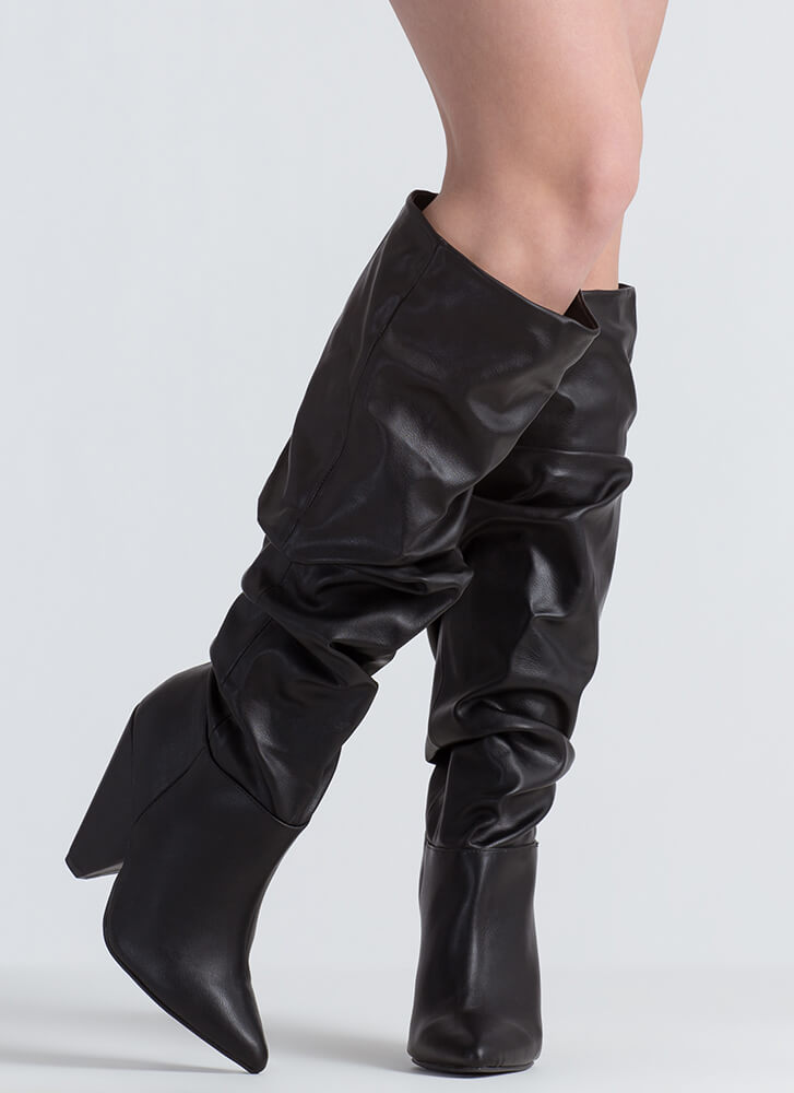 No Slouch Faux Leather Cone Heel Boots BLACK