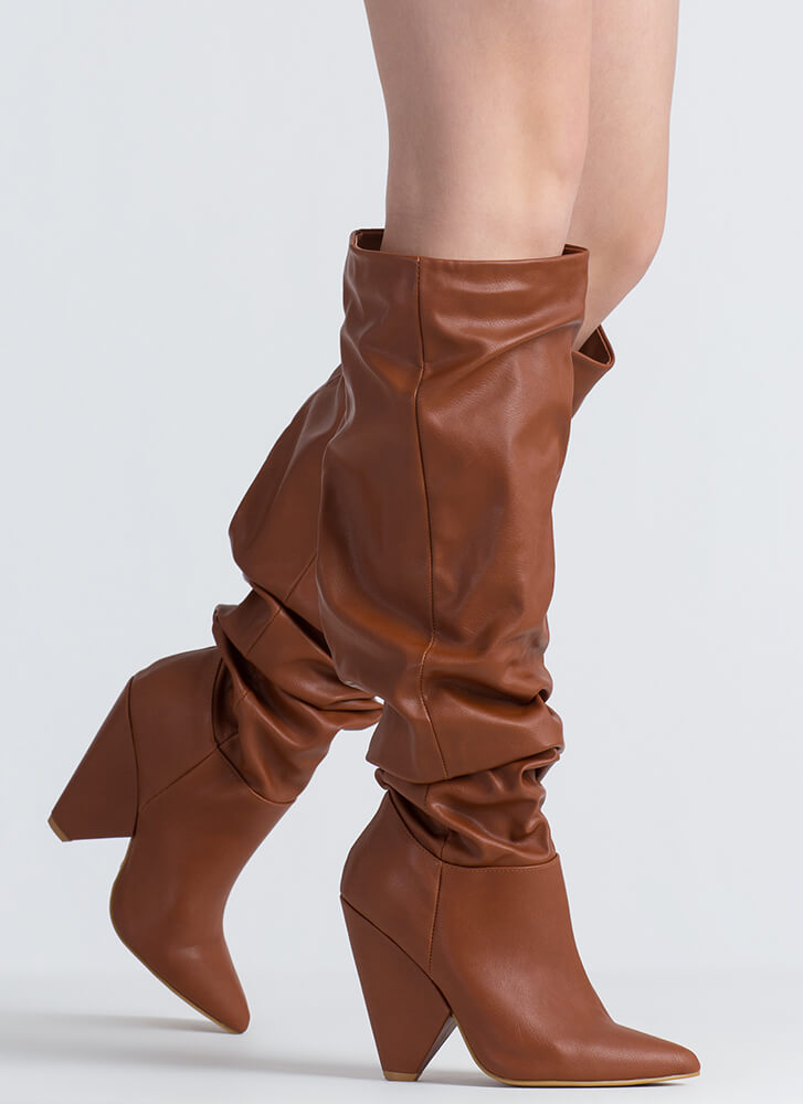 No Slouch Faux Leather Cone Heel Boots CHESTNUT
