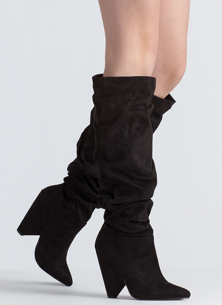 No Slouch Faux Suede Cone Heel Boots BLACK