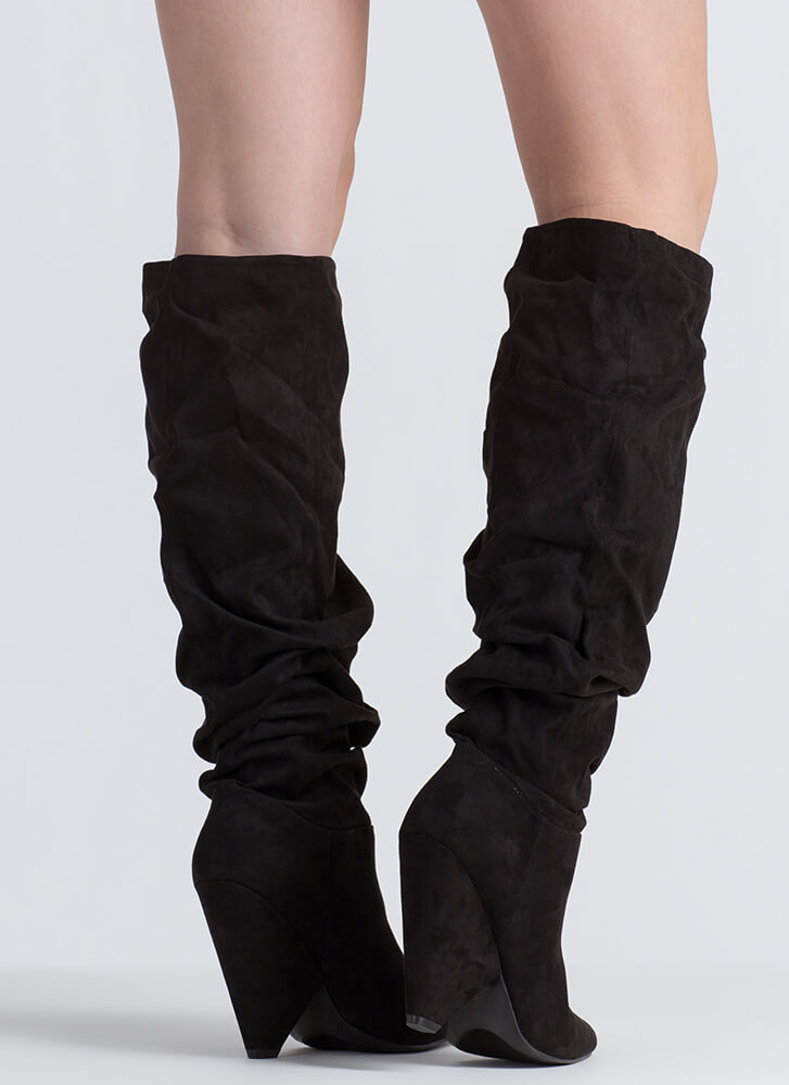 No Slouch Faux Suede Cone Heel Boots BLACK (Final Sale)