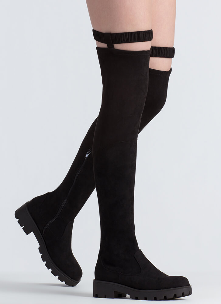 On Garter Faux Suede Thigh-High Boots BLACK