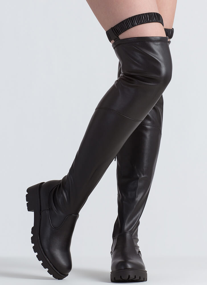 On Garter Faux Leather Thigh-High Boots BLACK