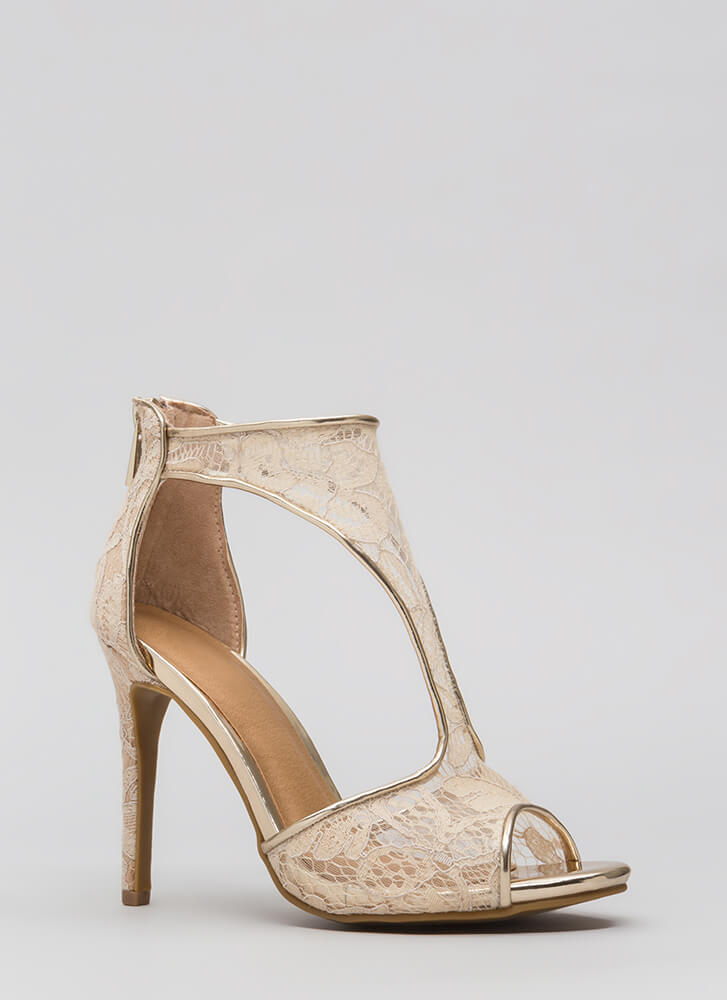 Sheer Elegance Cut-Out Floral Lace Heels NUDE