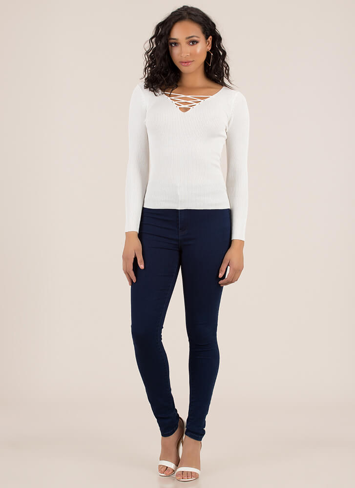 Crisscross Will Make You Rib Knit Top IVORY