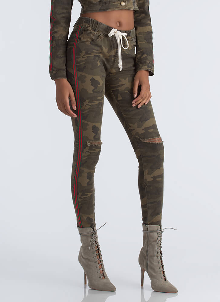 Earn Your Stripes Camo Drawstring Jeans CAMOUFLAGE