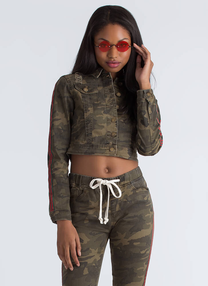 Earn Your Stripes Camo Denim Jacket CAMOUFLAGE