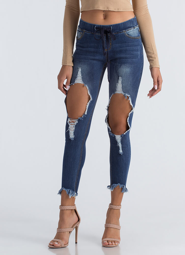 Hole Thing Destroyed Drawstring Jeans BLUE