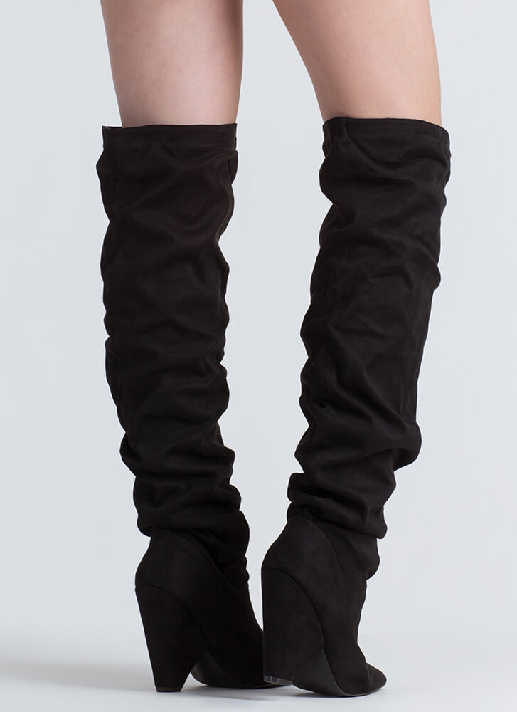 No Slouch Cone Heel Thigh-High Boots BLACK