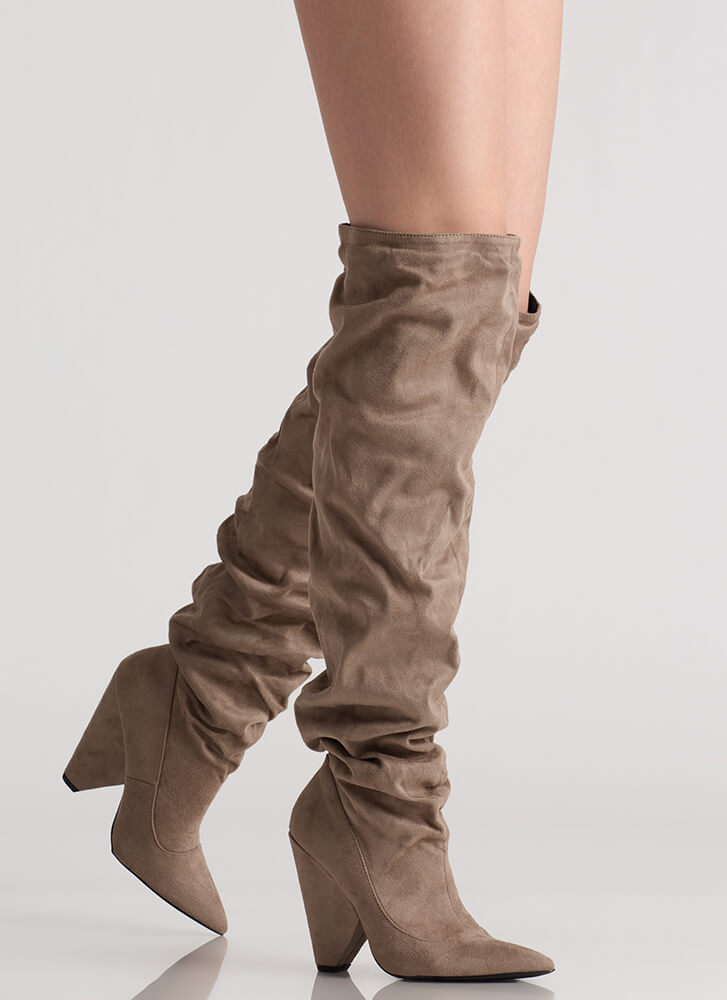 No Slouch Cone Heel Thigh-High Boots TAUPE