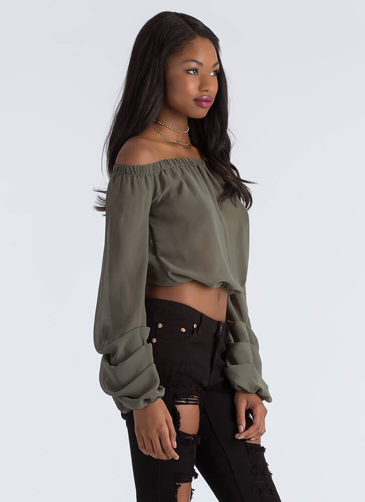 Wrist Action Pleated Off-Shoulder Blouse OLIVE