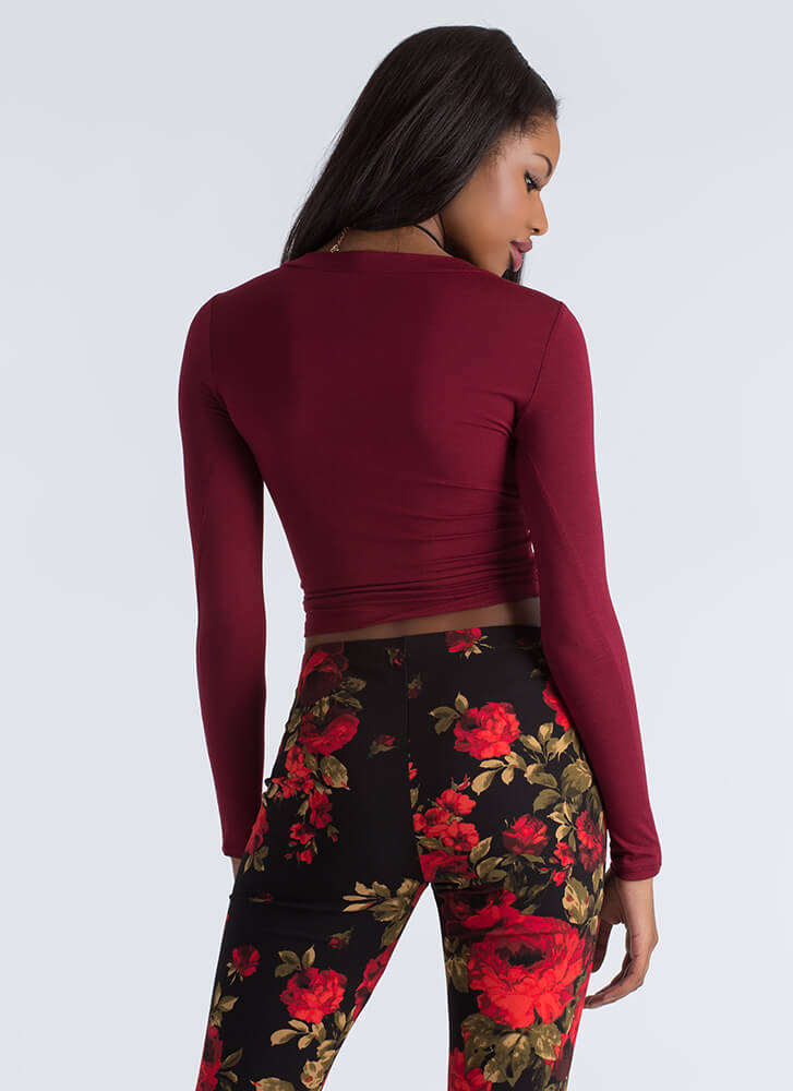 Knot Again Twisted Cut-Out Crop Top BURGUNDY