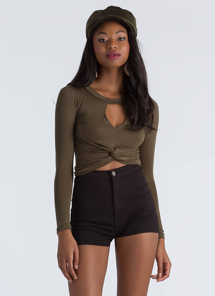 Knot Again Twisted Cut-Out Crop Top OLIVE