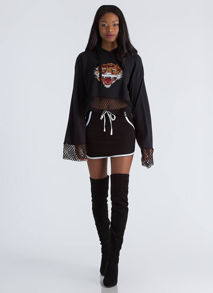 Catch A Tiger Sequined Cropped Hoodie BLACK