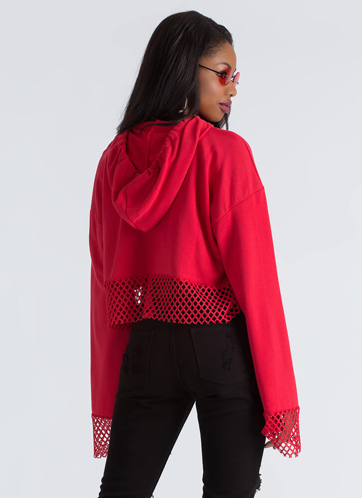 Catch A Tiger Sequined Cropped Hoodie RED