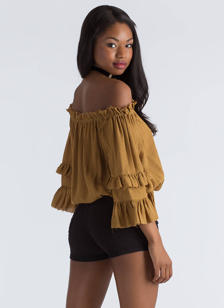 Country Girl Ruffled Off-Shoulder Blouse MUSTARD