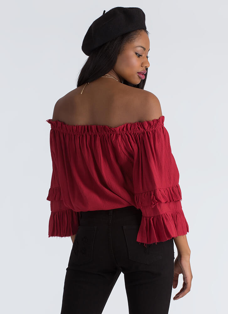 Country Girl Ruffled Off-Shoulder Blouse WINE