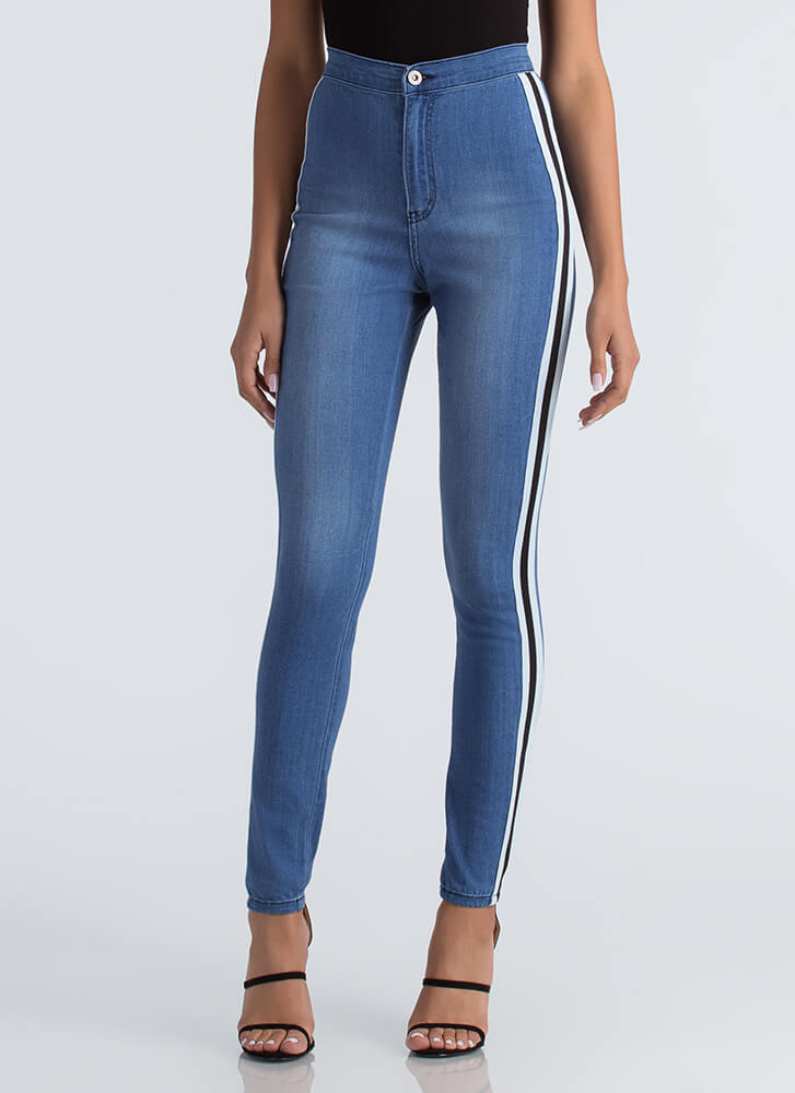 Race Yourself Striped High-Waisted Jeans BLUE