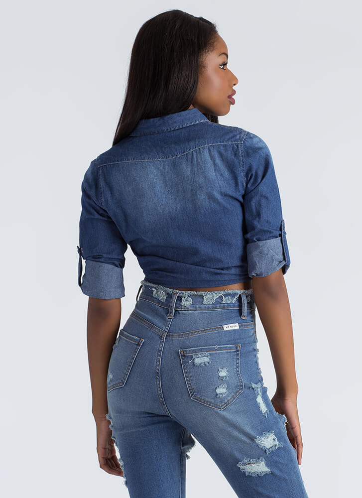Don't Be Distressed Chambray Shirt DKBLUE