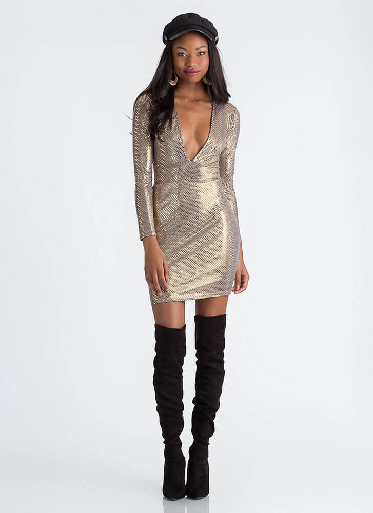 Disco Balls Sparkly Dotted Midi Dress GOLD