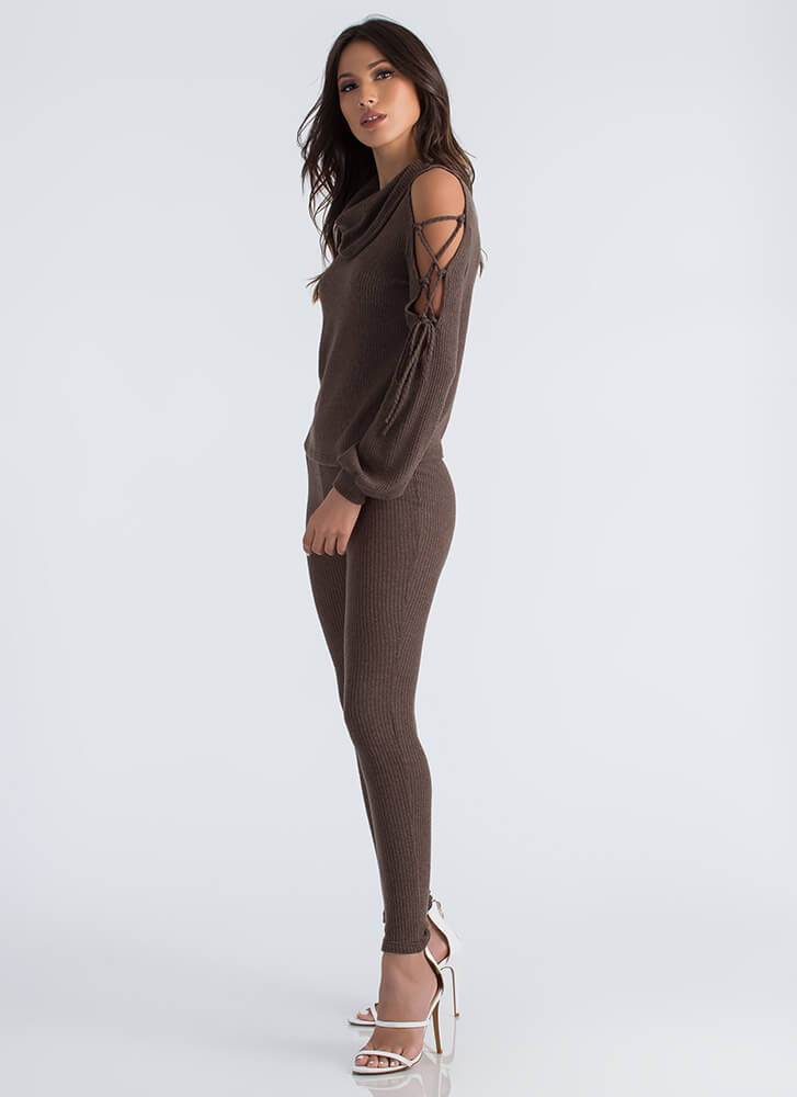 Cowl Girl Rib Knit Top And Legging Set OLIVE