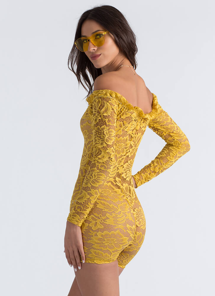 Lace Up In Lace Off-Shoulder Romper MUSTARD