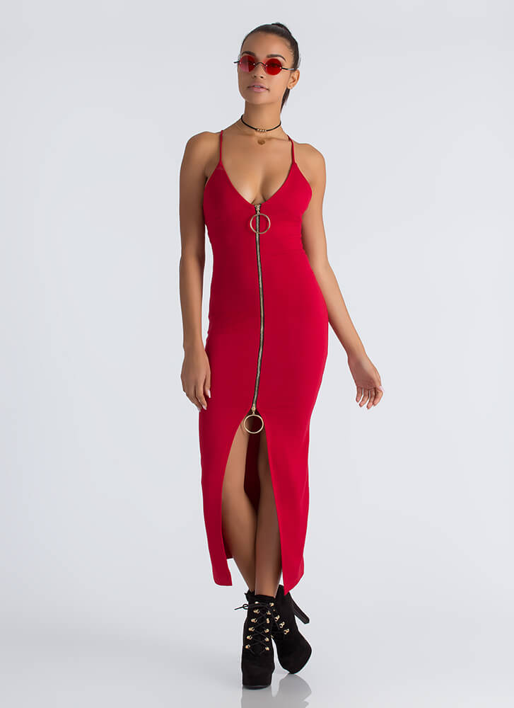 Ring It On Slit Two-Way Zipper Dress RED