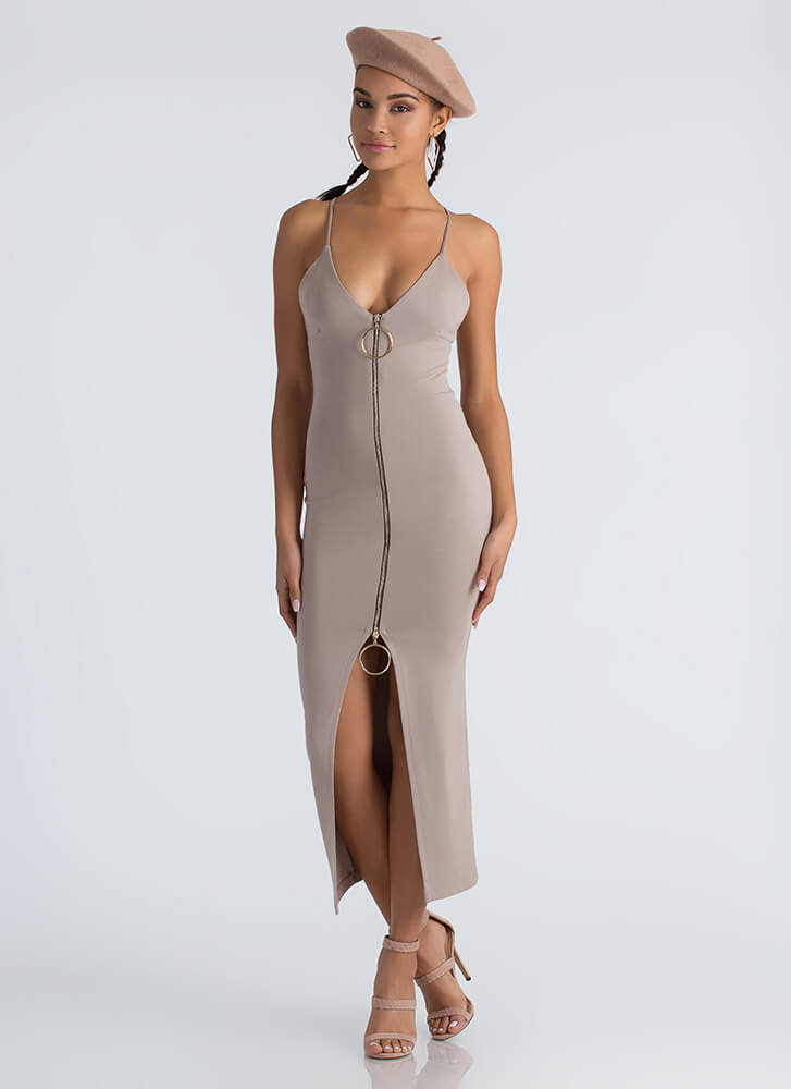 Ring It On Slit Two-Way Zipper Dress TAUPE