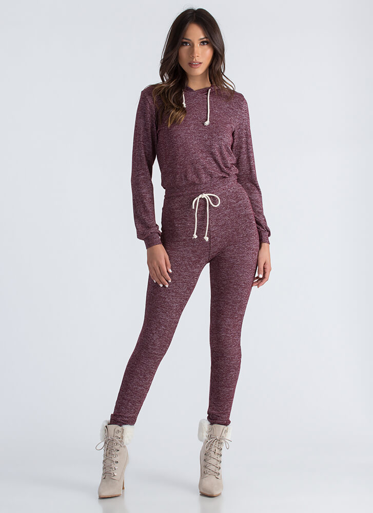 Athleisure Time Hoodie And Jogger Set BURGUNDY