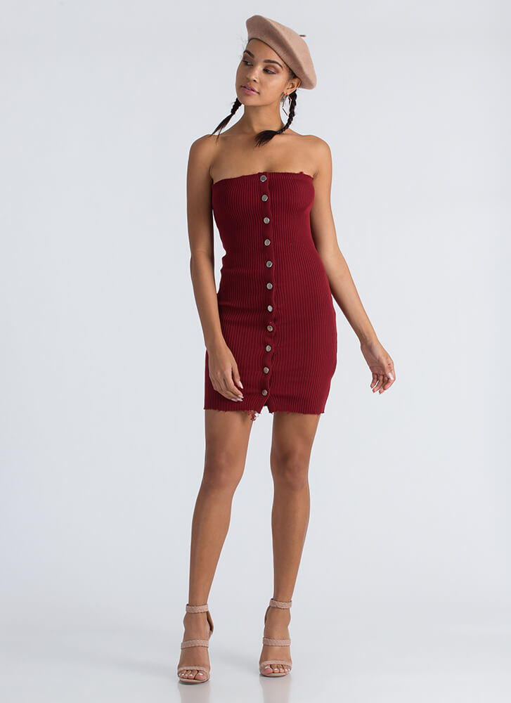 Snap To Attention Buttoned Tube Dress BURGUNDY