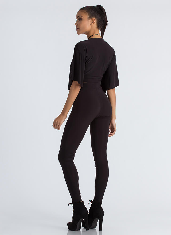 Tied And True Crop Top And Legging Set BLACK