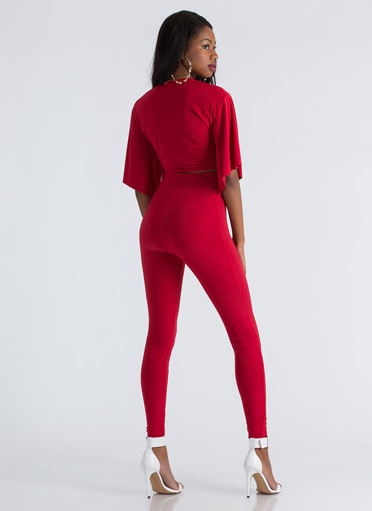 Tied And True Crop Top And Legging Set RED