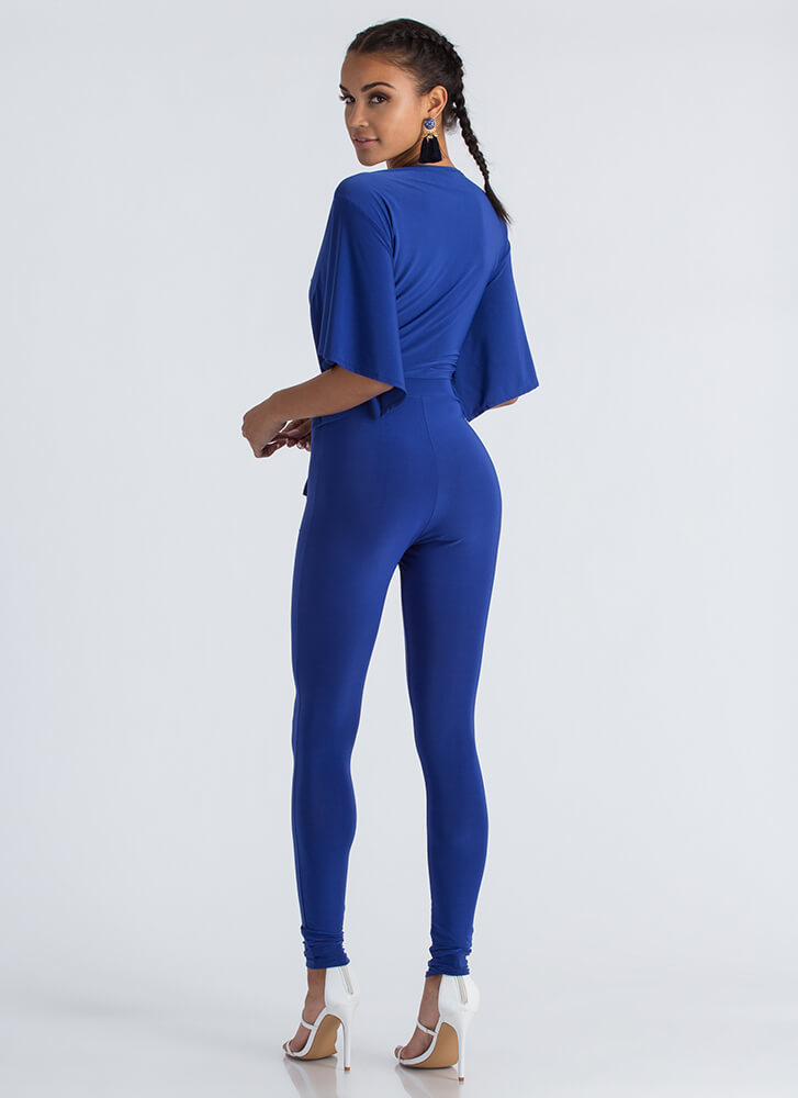 Tied And True Crop Top And Legging Set ROYAL