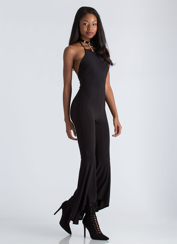 Dancing Queen Flared Halter Jumpsuit BLACK