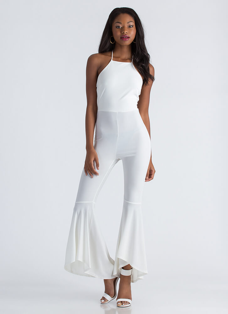 Dancing Queen Flared Halter Jumpsuit IVORY