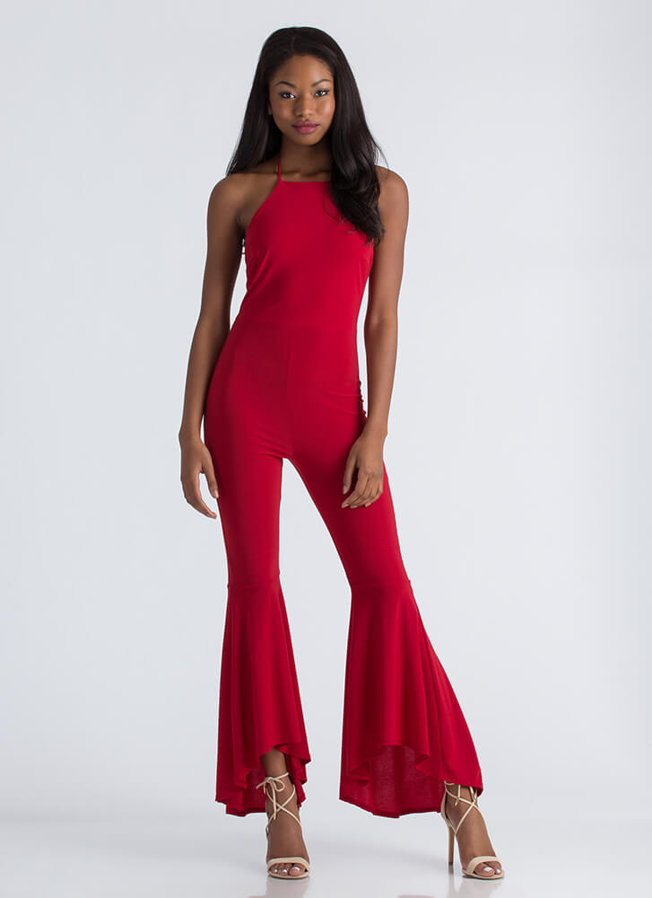 Dancing Queen Flared Halter Jumpsuit RED