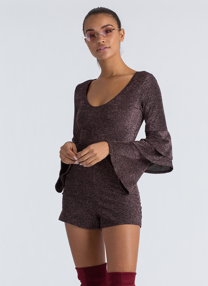 In Tiers Sparkly Ruffled Sleeve Romper ROSEGOLD