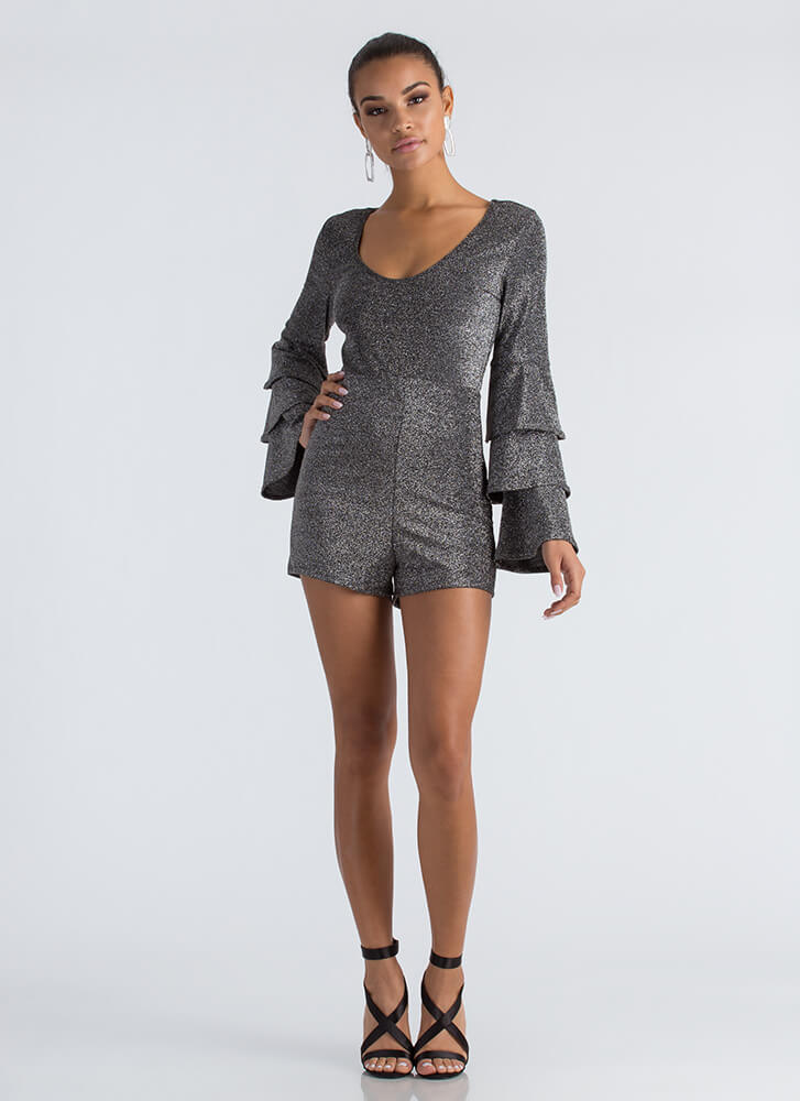 In Tiers Sparkly Ruffled Sleeve Romper SILVER