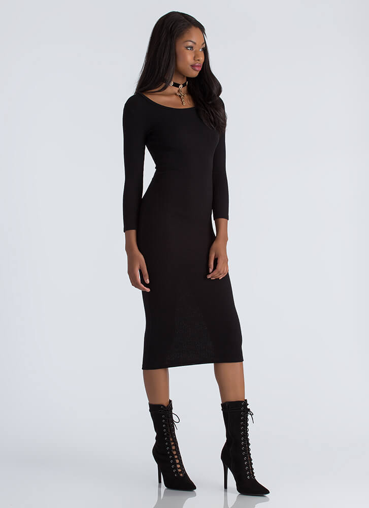 Accessorize Me Rib Knit Midi Dress BLACK (Final Sale)