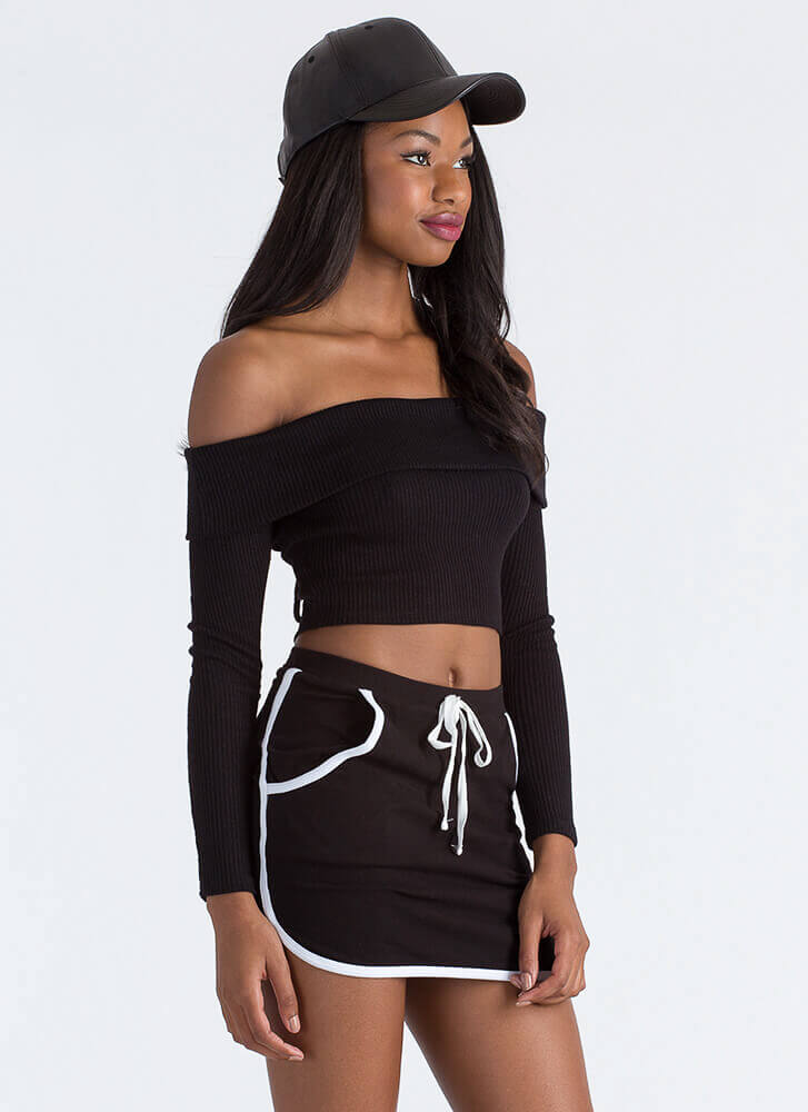 New Bow Ribbed Off-Shoulder Crop Top BLACK