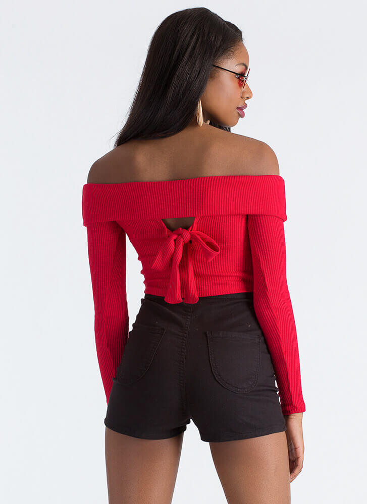 New Bow Ribbed Off-Shoulder Crop Top RED