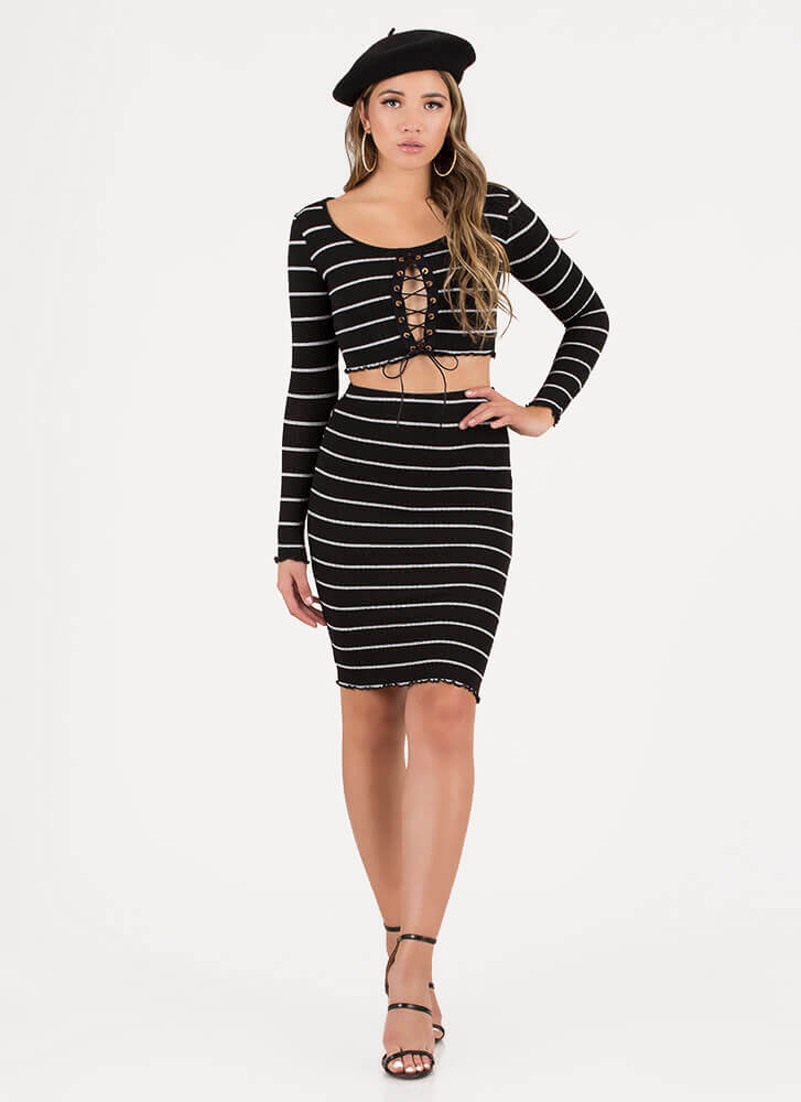 Stripe Right Lace-Up Top And Skirt Set BLACKWHITE