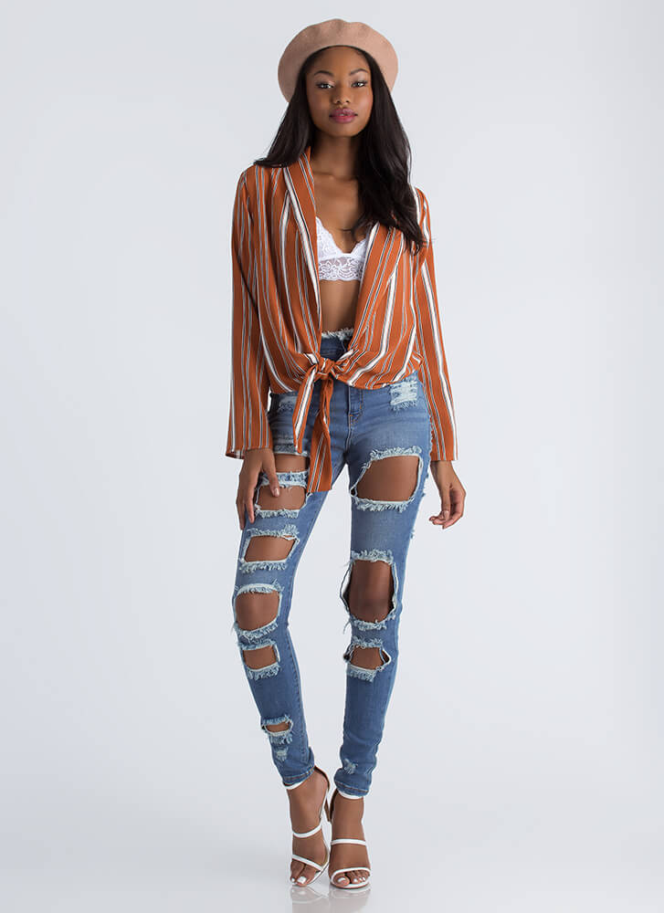 Too Cool For School Knotted Striped Top RUST (Final Sale)