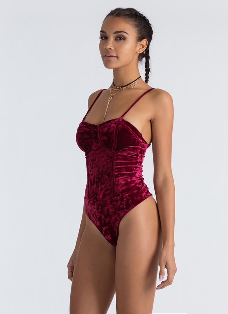 Bustier Crush Velvet Thong Bodysuit BURGUNDY