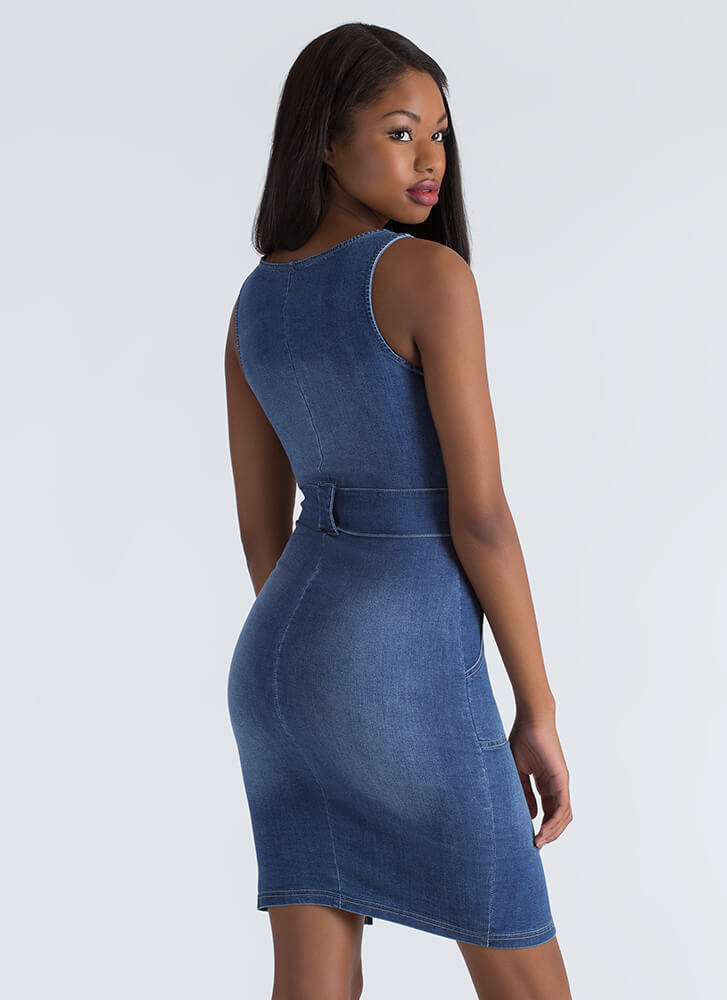 One Fell Swoop Zip-Up Denim Dress BLUE
